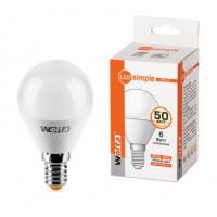 Светодиодная лампа Wolta Шар Е14 мощностью 6 Вт теплого свечения - Аналог лампы накаливания 50 Вт