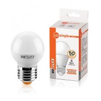 Светодиодная лампа Wolta Шар Е27 мощностью 6 Вт теплого свечения - Аналог лампы накаливания 50 Вт