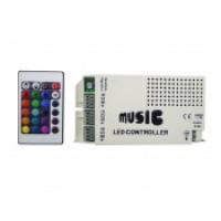 Контроллер для светодиодной ленты rgb IR с пультом музыкальный 12/24В 12А