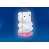 Ночник светодиодный аккумуляторный DTL-305-Медвежонок/3color на розовой подставке