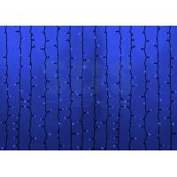 Гирлянда Светодиодный Дождь (Занавес) IP54, 2х9м, Синее свечение, эффект Водопада, черный провод, 220В (Для помещения и улицы)