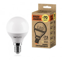 Светодиодная лампа Wolta Шар Е14 мощностью 7,5 Вт теплого свечения - Аналог лампы накаливания 60 Вт
