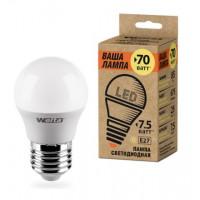 Светодиодная лампа Wolta Шар Е27 мощностью 7,5 Вт нейтрального свечения - Аналог лампы накаливания 60 Вт