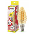 Лампа светодиодная LED-Свеча Витая-deco 5Вт 230В Е14 3000К 450Лм золотистая IN HOME