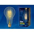 Лампа накаливания Uniel серия VINTAGE груша A95 60W E27 форма нити SW золотистая