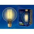 Лампа накаливания Uniel серия VINTAGE шар G95 60W E27 форма нити VW золотистая