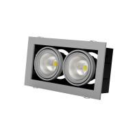 Встраиваемый карданный поворотный светодиодный светильник Grazioso 2 LED 2x30 clean Серебристый 4118Lm 4000K