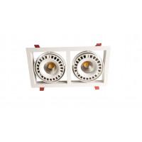 Встраиваемый карданный поворотный светодиодный светильник Glissando LED 2x44 clean 9500Lm 4000K